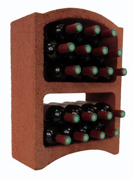 Bloc Cellier aus roter Tonerde für 19 Bordeaux- oder 16 Bourgogne-Flaschen